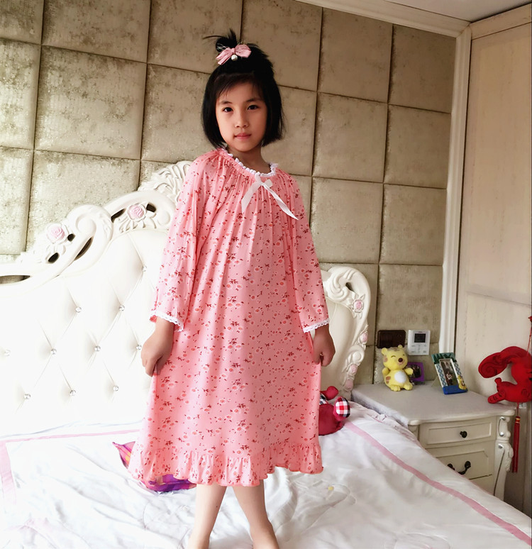 Protecting-Joint Parent-Child Girls Princess And Autumn Modal Long Air-Conditioning Nine-Sleeve