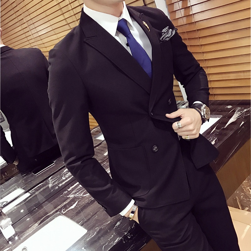 Double Breasted Peaked Lapel Wedding Tuxedos Black 2020 Slim Fitted Grooms Groomsmen Wedding Suits Causal Suit (Jacket+Pant)