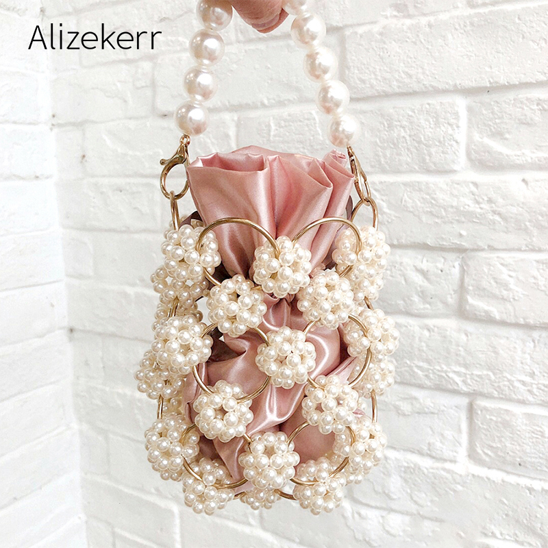 Hollow Out Pearl Evening Bags Women Luxury Small Beaded Pearl Clutch Purses And Handbags Ladies Woven Shoulder Bag Wedding Party