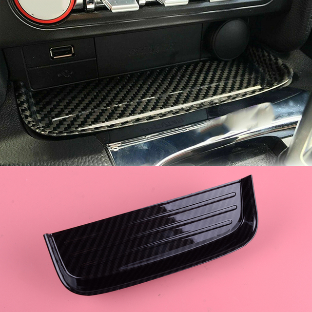 DWCX Carbon Fiber Texture ABS Interior Car Center Change Coin Tray Box Holder Fit For Ford Mustang 2015 2016 2017 2018