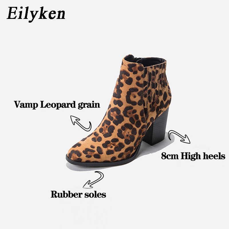 Eilyken 2020 yeni moda leopar tahıl yüksek topuklu ayak bileği kadın çizmeler yuvarlak ayak kış Zip parti kadın botas altas ayakkabı boyutu 43
