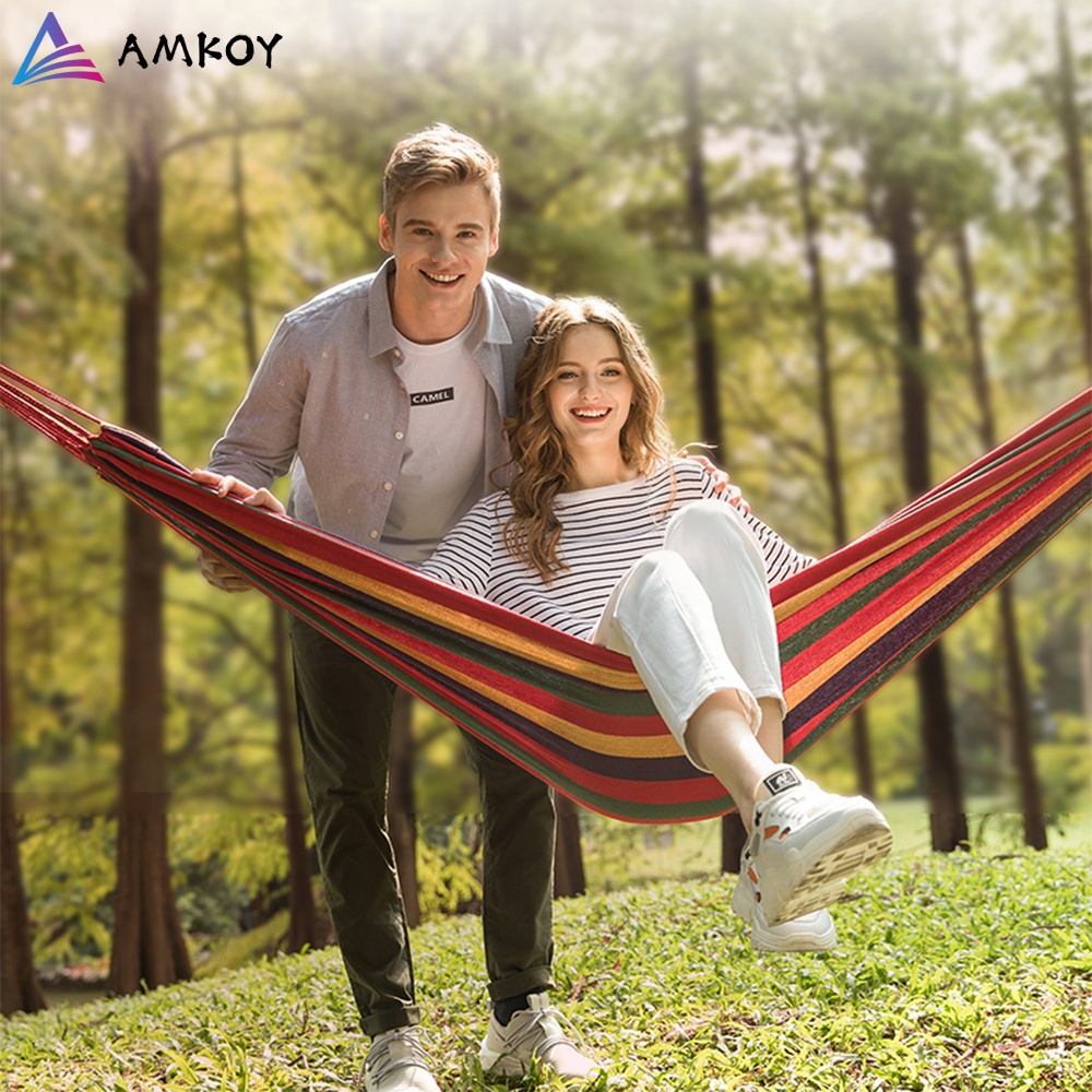 Quality Thicken Canvas Garden Swing Hammock Outdoor Single Two Person Dormitory Camping Hammocks200*100 200*150cm Hanging Chair