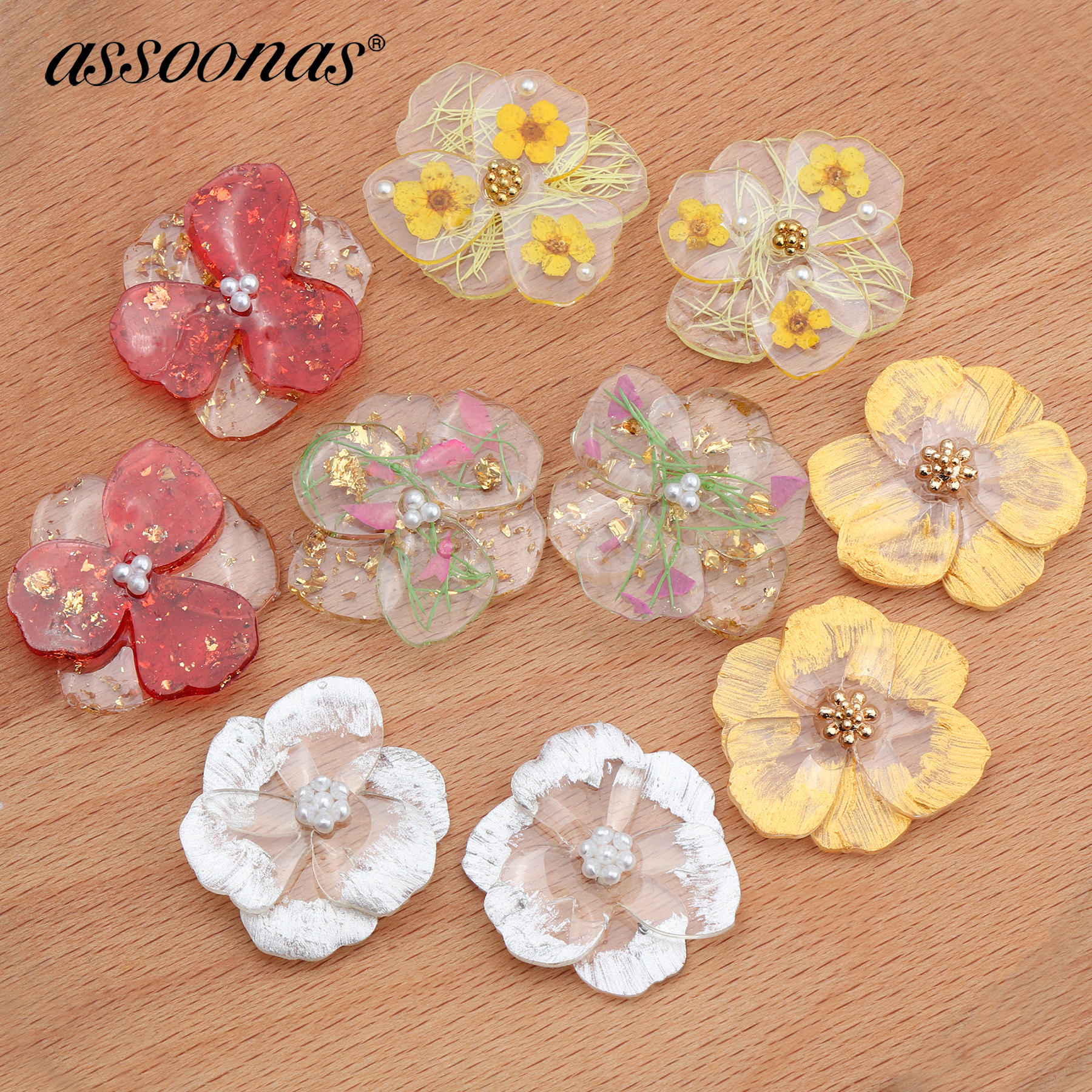 Assoonas M598,diy Resin,jewelry Accessories,flower Pendant,jewelry Making,charm,hand Made,jewelry Findings,diy Earrings,4pcs/lot
