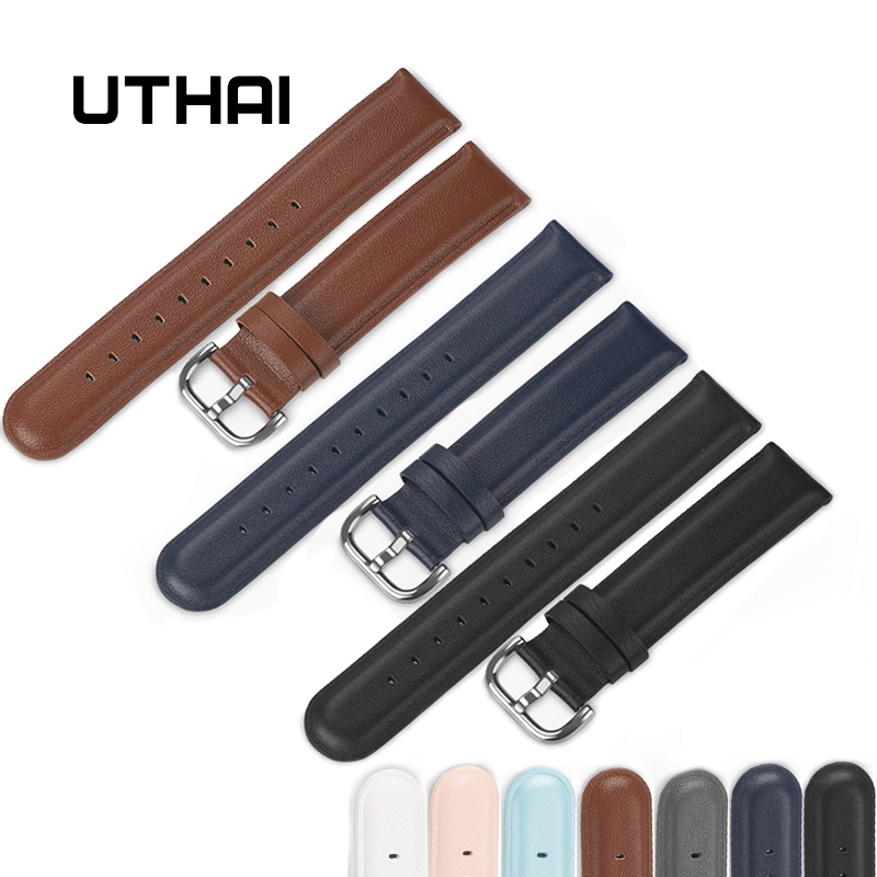 UTHAI P22 20mm Genuine leather watchband For Samsung Galaxy Watch Active 2 Smart Watch 40mm 44mm strap 20mm Band Width watchband