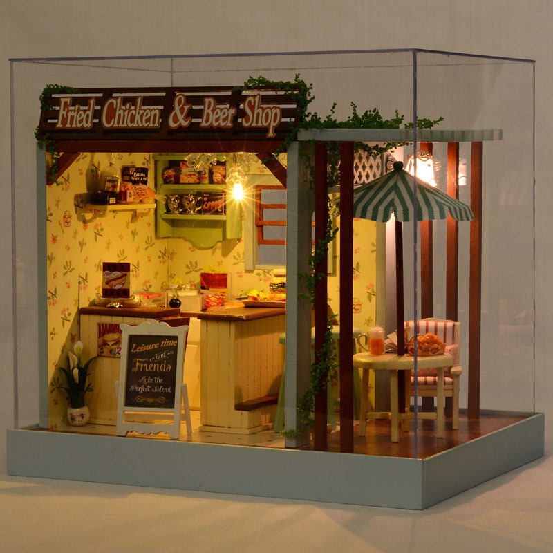 Assemble Miniature Dollhouse Fried Chicken & Beer Shop DIY Doll House Handmade Crafts Creative Wooden Kids Grownups Puzzle Toys 1