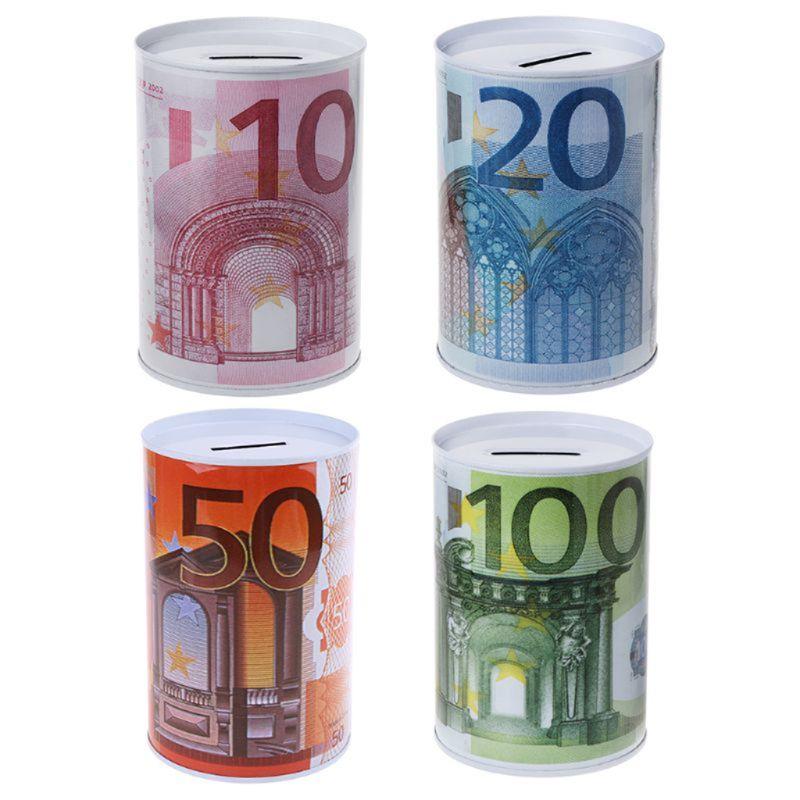 Creative Euro Dollar Metal Cylinder Piggy Bank Saving Money Box Home Decoration H9EC