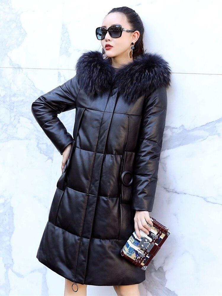 Leather Real Jacket Winter Coat Women Raccoon Fur Collar Long Down Jacket Women Sheepskin Coat Chaqueta Mujer AM18017