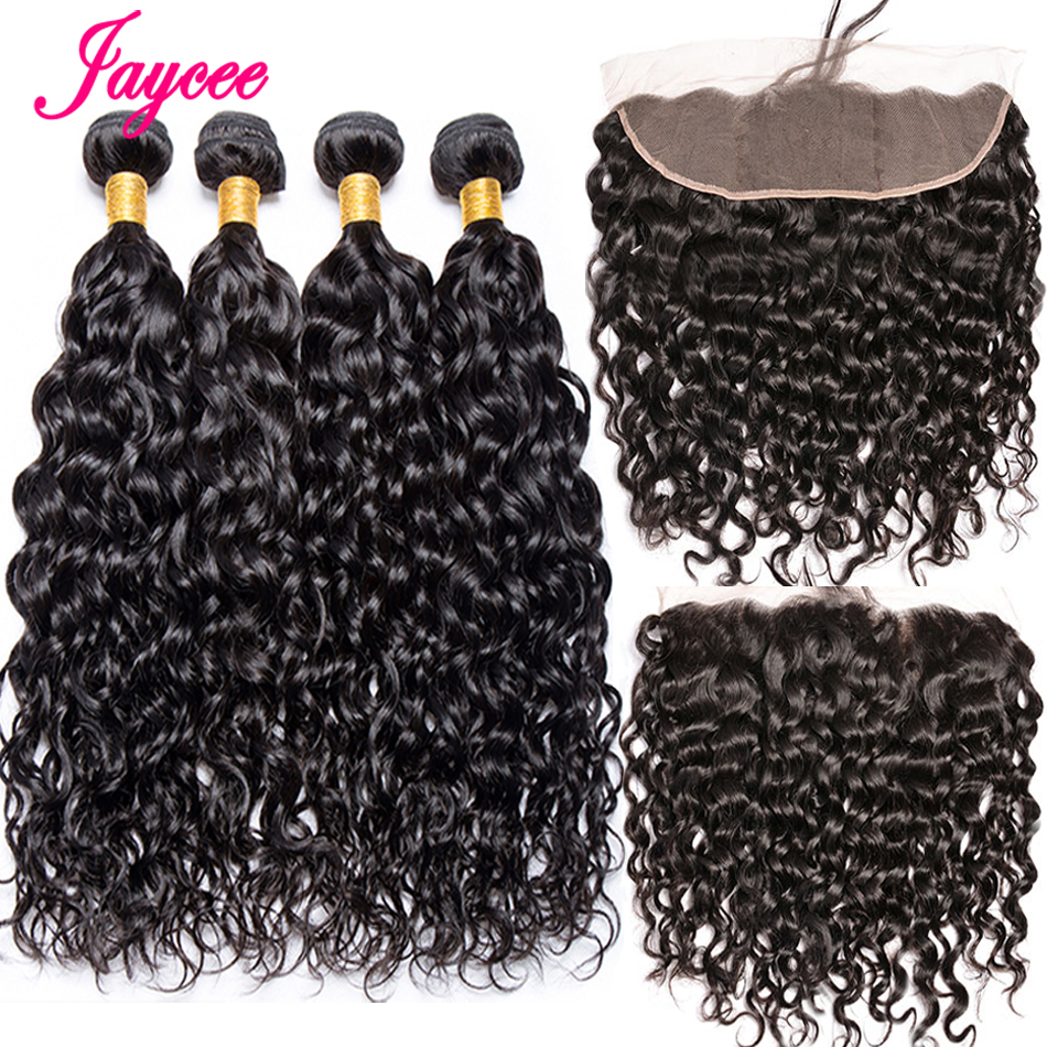 Human-Hair Closure Weave Water-Wave-Bundles Frontal with Brazilian Deal Remy 13x4 title=
