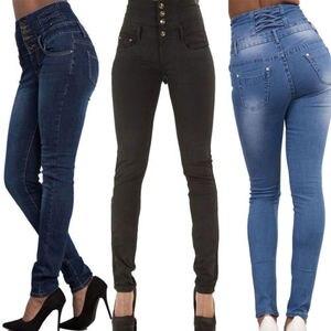 Лидер продаж, женские модные облегающие джинсы с высокой талией, женские эластичные длинные брюки-карандаш, 4 цвета