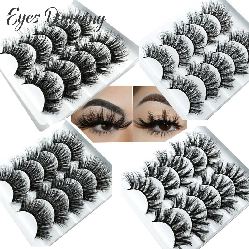 Eyes Dancing 5Pairs 3D Faux Mink Hair Lashes Natural/Thick/Crisscross Long Eye Lashes Wispy Makeup Multi-pack Eyelash Extension