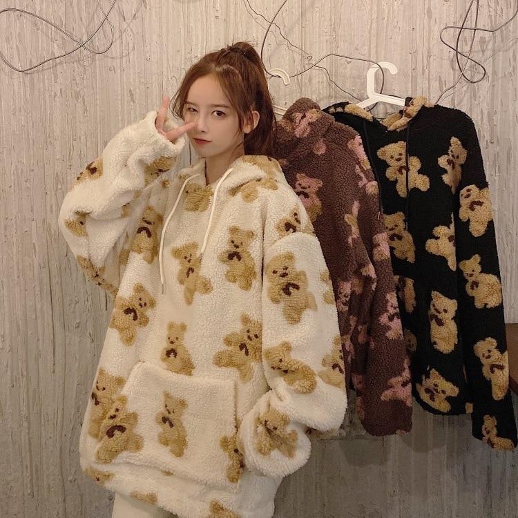 Vento universitário pequeno de lã bonito urso senhora hoodie solto mais veludo kawaii moletom plus size blusa feminina super dalian hoodie