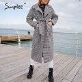 Женское шерстяное пальто в клетку Simplee, длинное пальто с карманом и поясом в ломаную клетку на зиму 2020 - фото