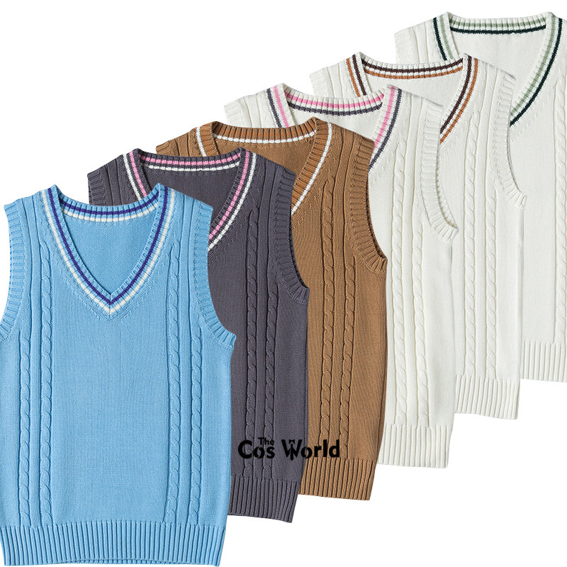 6 Colors S-XXL Spring Autumn Sleeveless Knit Vests Pullovers V Neck Sweaters For JK School Uniform Student Clothes