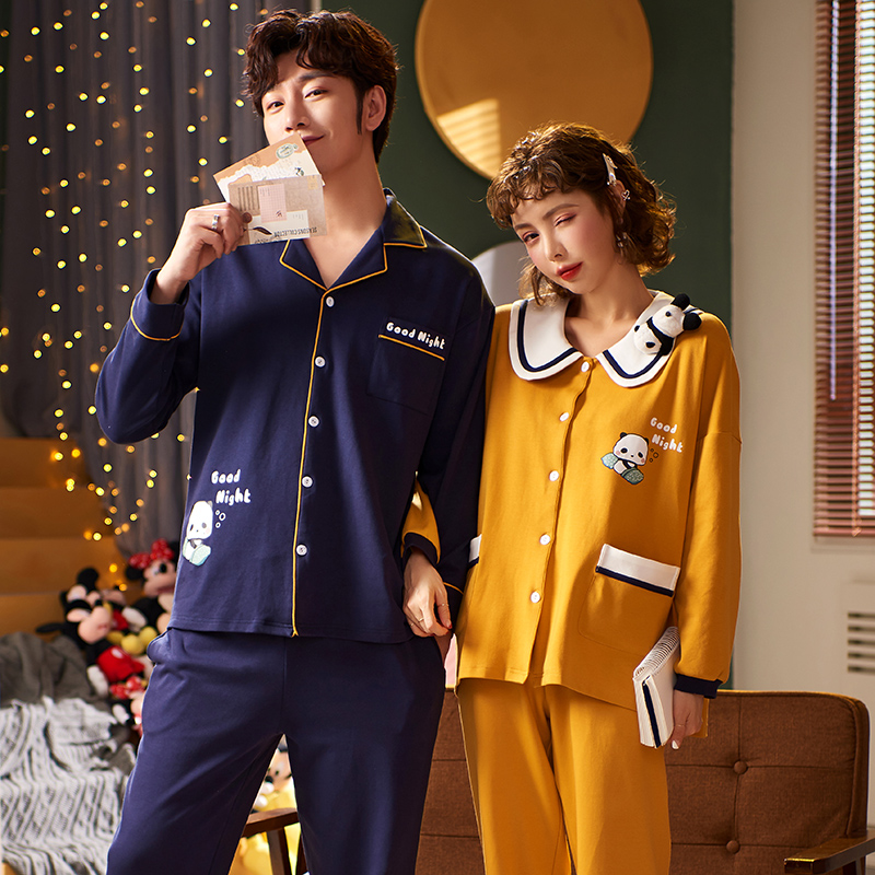 2020 Pajama Couple Pjs Women Plus Size Homeclothes Homesuit Long Sleeve Fashion Style Women Pajamas Set Turn Down Collar Girl