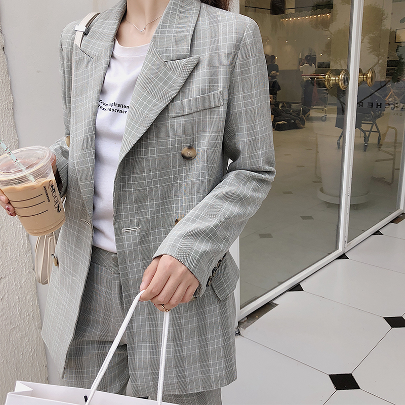 Retro Casual Plaid Ladies Blazer Gray Loose Stylish Simple Suit Jacket Blazer Paillette Korean Women's Clothing Spring MM60NXZ