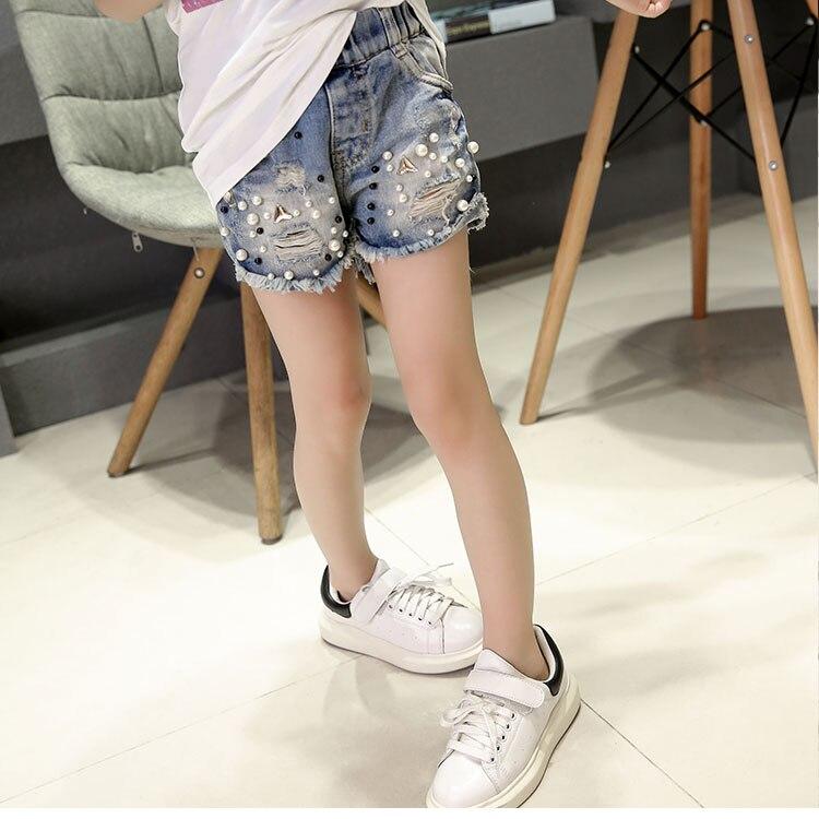 2019 Spring summer new girls denim shorts Korean children's wild washed broken flash edge hot pants jean fille 6