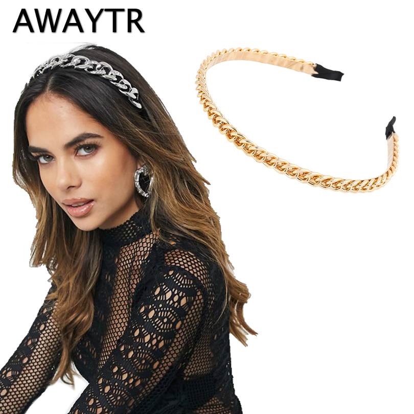 AWAYTR Fashion Gold Chains Hair Bands Hoop For Women Headband Hairband Girls Hair Accessories Elegant Chic Hair Ornament|Women