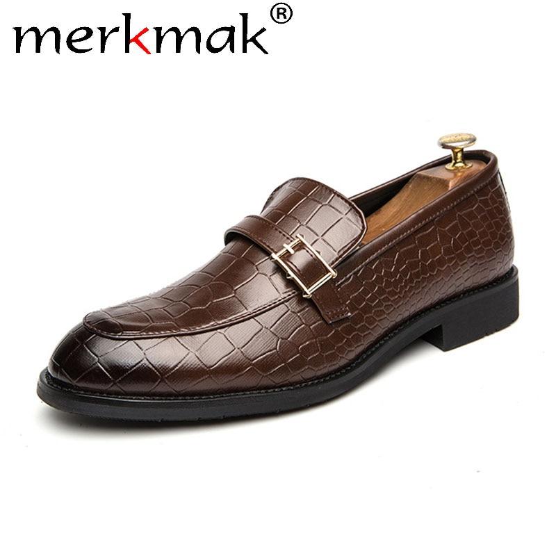 Merkmak Slip-on Men Casual Leather Shoes Fashion Buckle Crocodile Pattern Dress Shoes Men Business Formal Footwear Big Size 47