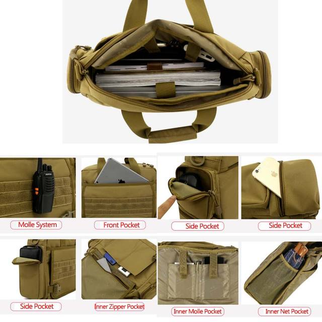NANCY TINO Military Handbag 14inch Laptop Tactical Bags Camouflage Army Molle System Bag Ffor Camping Hiking Travel Outdoor 3