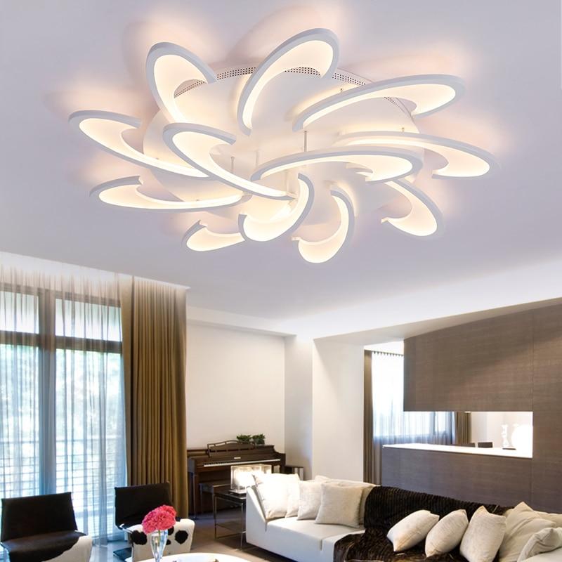 Современные светодиодные потолочные люстры, лампы с дистанционным управлением для спальни, гостиной, кухни, белые светильники, Лепестковые...