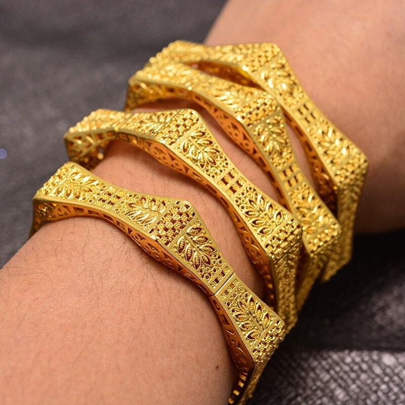 4Pcs Dubai Arab wheat Gold Color Bracelet&Bangles for Women Girl Islam Muslim Arab Middle Eastern Wedding Copper Jewelry Bangle
