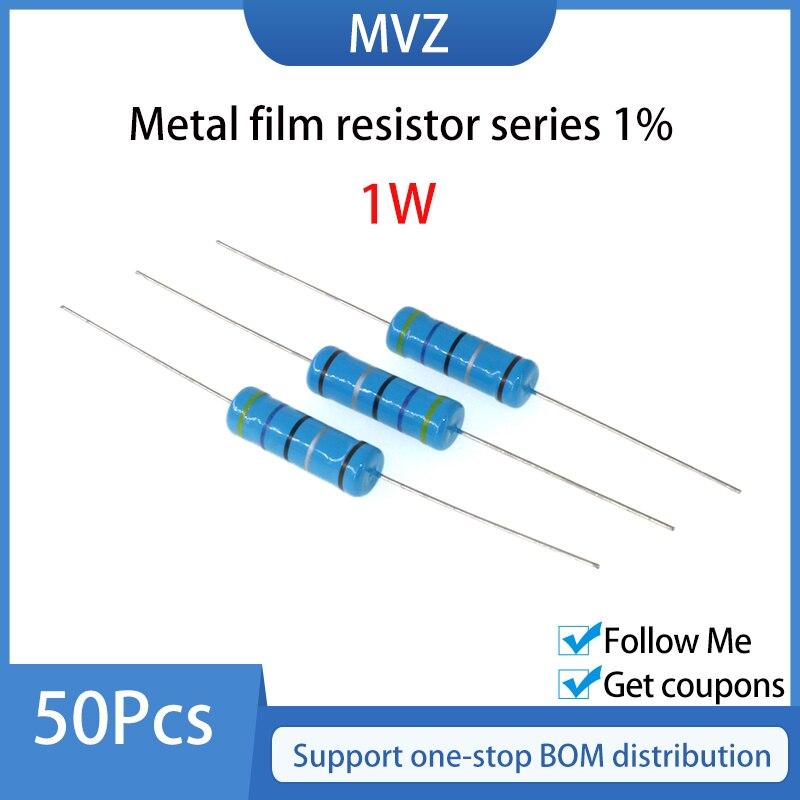 Металлический пленочный резистор серии 1% 1 Вт 47K 51 56 62 K 68 75 82 91 100 110 120 KR 130 150 160 180KOhm 200 220 240 270 300 330 KOhm