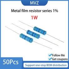 Resistencia de película de Metal serie 1% 1W Watt Ohm 750R 820 R 910Ohm 1K 1,1 K 1,2 K 1,5 K 1,6 K 1,8 2K 2,2 K 2,4 K 2,7 K 3K 3,3 K 3,6 K 3,9 K KOhm