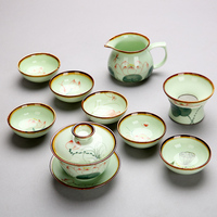 Hand painted lotus Chinese style celadon kung fu tea set home set teacup ceramic office teapot cover bowl