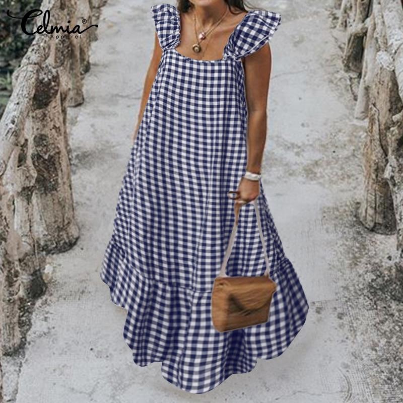 Женское летнее платье, винтажное клетчатое длинное платье рубашка с коротким рукавом, повседневное свободное плиссированное платье с оборками, модель 2020|Платья|   | АлиЭкспресс