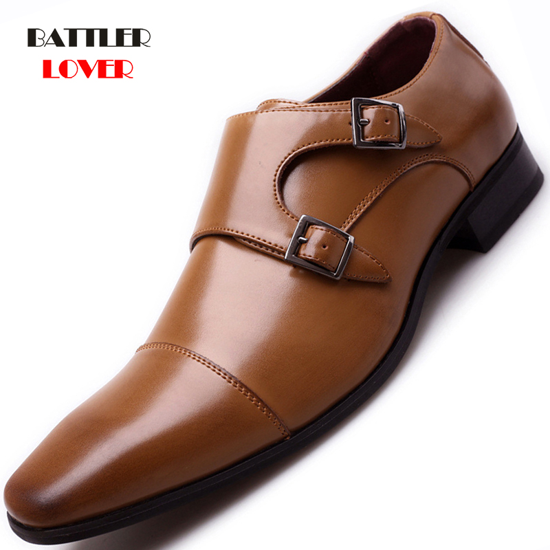 Brand Luxury Leather Men Oxford Shoes Square Toe Men's Formal Dress Shoes With Double Buckle Male Wedding Shoes Big Size 39-48