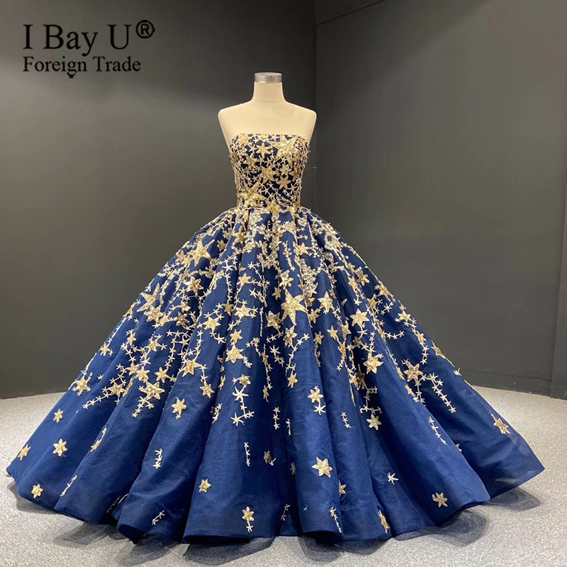Vandar Poel Blue Gold Star Wedding Dress 2020 Luxury Ball Gown Sequined Sparkle Bridal Gowns Vestido De Noiva Robe De Mariee