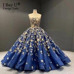 Vandar poel azul estrela de ouro vestido de casamento 2020 vestido de baile de luxo lantejoulas brilho vestidos de noiva vestido de noiva robe de mariee