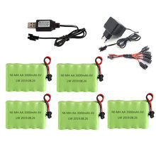 Bateria e carregador para rc, 6v 3000mah para carros, brinquedos, robôs, tanques, arma aa, 2400mah 6v pacote de bateria recarregável sm plug