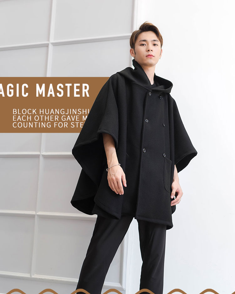 Double-breasted garden-style hooded cloak fashion casual loose wool coat autumn and winter bat shirt fashion men's individual co