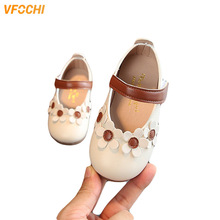 VFOCHI Girls Leather Shoes Flower Decoration Casual Children Party Wedding for Kids Teenager Dress
