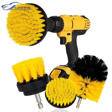 3Pcs/Set 2/3.5/4 Electric Scrubber Brush Drill Brush Kit Plastic Round Cleaning Brush For Carpet Glass Car Tires Nylon Brushes