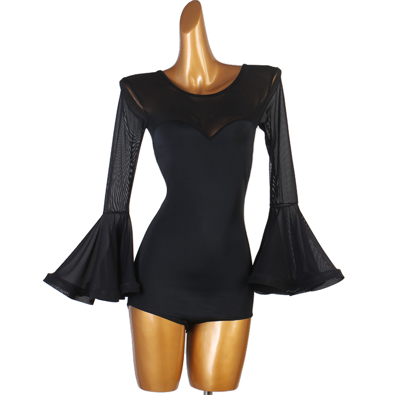 Latin Dance Dress Sexy Black Long Sleeve Tops Shirts Latin Dance Tops Women Latin Ballroom Dance Competition Dresses Costumes
