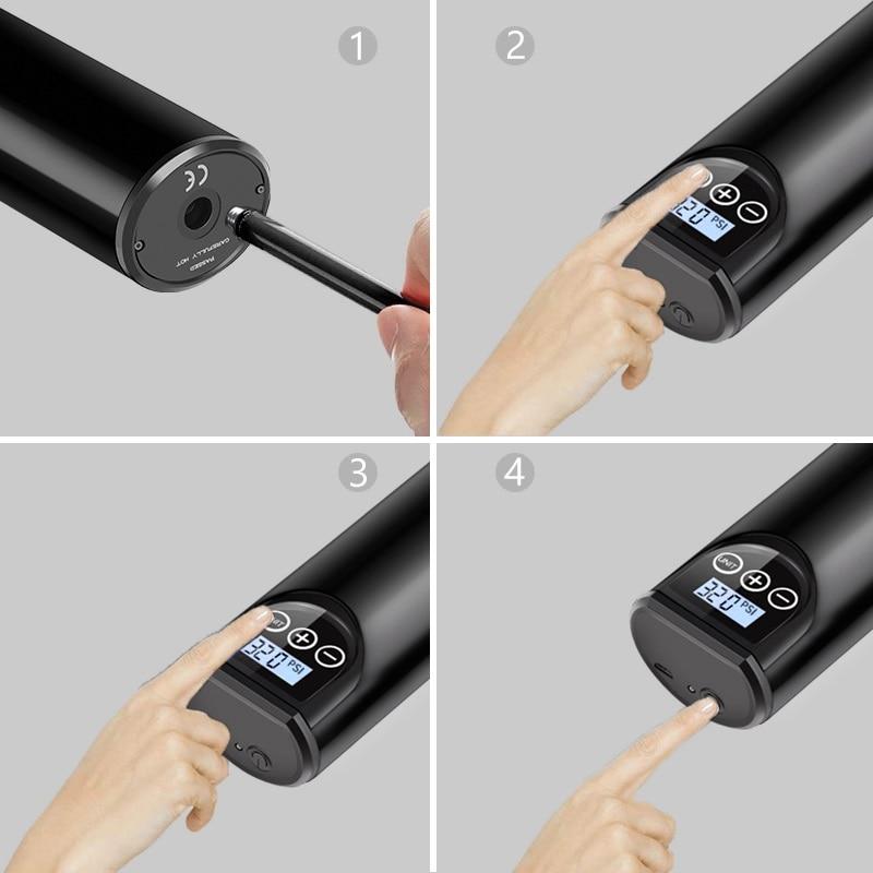 Cordless air pump for car tires standard automotive tool set
