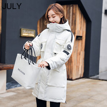 цены 2019 Winter down jacket women Hooded Coat Long  Thick Cotton Wadded jacket Woman Loose Casual Warm Winter Coat Outerwear Female