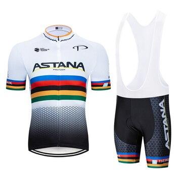 2019 ASTANA Pro Team Bicicleta Maillot Manga Curta Ciclismo Kits Ciclismo Jersey Conjuntos respirável Ciclismo Roupas de Verão dos homens