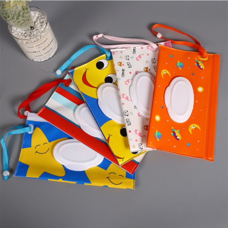 Kid Wipe Clutch Carrying Bag Wet Wipes Dispenser Toddler Cartoon Wet Wipe Refillable Eco-friendly Pouch Practical Snap-strap Bag