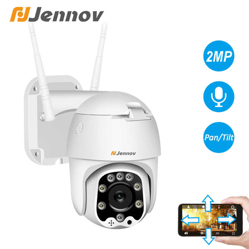 Jennov 1080 P PTZ IP กล้องโดมกลางแจ้งไร้สาย Wifi Security กล้องสองทางเสียง 2MP Pan Tilt CCTV เครือข่ายการเฝ้าระวัง ONVIF