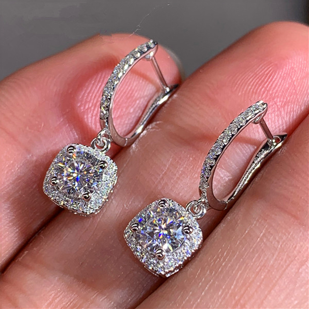 Huitan New Trendy Square Shape Drop Earrings Brilliant Bridal Engagement Wedding Jewelry Elegant Female Dangle Earring Fine Gift