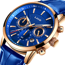 LIGE New Men Watch Top Brand Blue Leather Chronograph Waterproof Sport Automatic