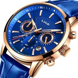 LIGE nowych mężczyzna oglądać najlepsze marki niebieski skórzany Chronograph wodoodporny sportowy automatyczny kwarcowy data zegarki dla mężczyzn Relogio Masculino w Zegarki kwarcowe od Zegarki na
