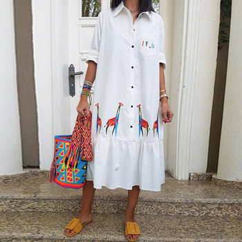 African Women Summer White Shirt Midi Dress Print Mid-Calf Button Party Loose Dresses 2020 Africa Clothing Shirt Dress image