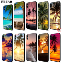 цена на IYICAO Summer Beach Sunset Sea Palm Soft Black Silicone Case for iPhone 11 Pro Xr Xs Max X or 10 8 7 6 6S Plus 5 5S SE
