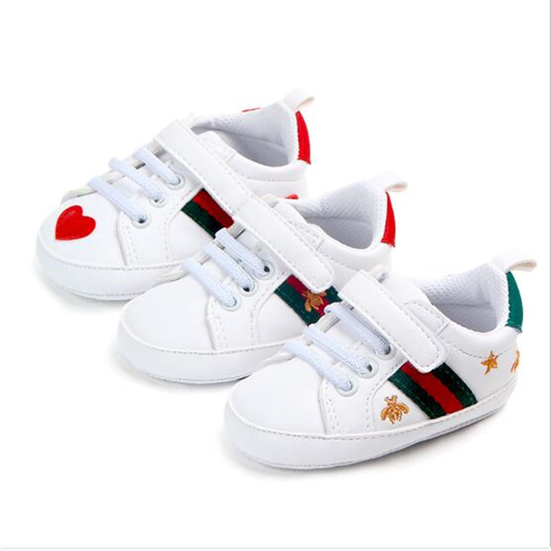 New Baby Shoes PU Leather Shoes Soft Sole Newborn Sports Shoes Sneakers Baby Boys Girls Stripe Pattern First Walkers