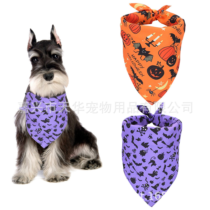 Pet Halloween Triangular Binder Dog Small Dogs Bibs Neckerchief Cat Scarf Orange