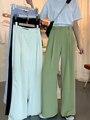 2020 sommer Lose Beiläufige Lange Frauen Mode Dünne Hohe Taille Hosen Schwarz Einfache Breiten bein Hosen Hose Koreanische